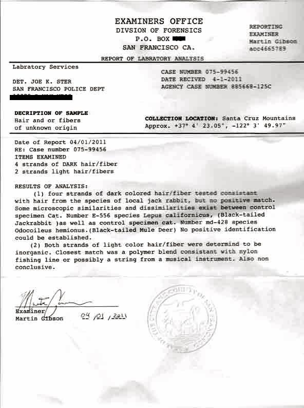 hair and fur forensic report, pertaining to ukuleles, ukeleles, ukaleles, ukuleles of felton, felton, ukalope, ukelope, ukalope, uke-a-lope, cryptozoology, ukulele jackalope, jackalopes